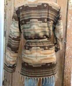 Heerlijk super-warm vest, beige en bruin, achterkant