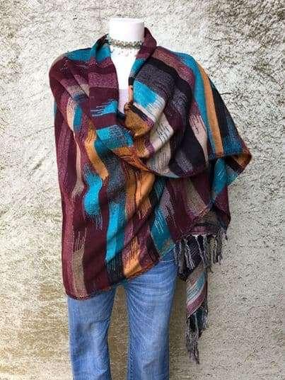 Tibetaanse sjaal, in mooie felle kleuren