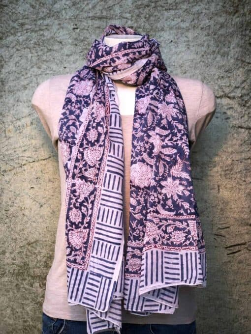 blockprint sjaal, marine