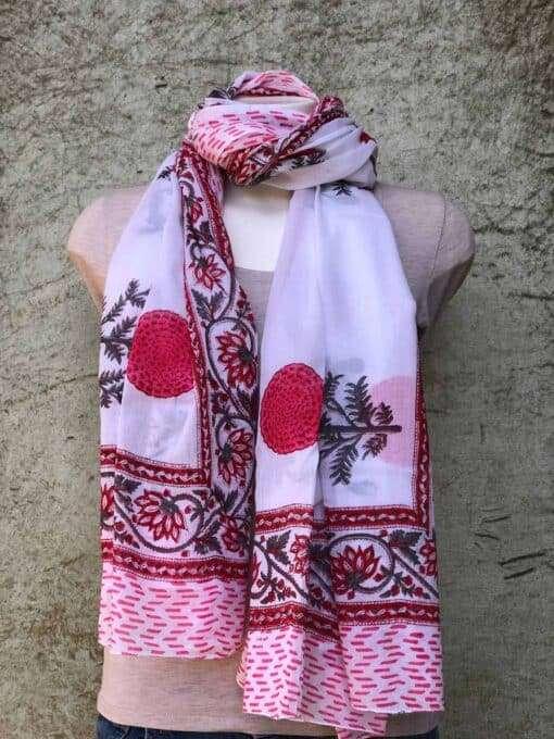 blockprint sjaal, poppy red